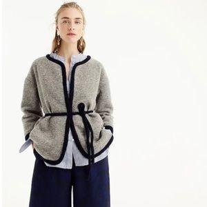 J Crew Boiled Wrap Wool Jacket Gray Sweater Xs